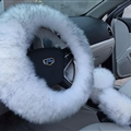 3pcs sets Winter Long Australian Wool Heated Fur Car Steering Wheel Handbrake Gear Shifter Cover - White