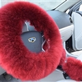 3pcs sets Winter Long Australian Wool Heated Fur Car Steering Wheel Handbrake Gear Shifter Cover - Wine Red