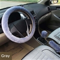 Classical 3pcs sets Winter Plush Fur Universal Car Steering Wheel Cover Handbrake Gear Knob Cover - Gray