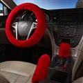 Classical 3pcs sets Winter Plush Fur Universal Car Steering Wheel Cover Handbrake Gear Knob Cover - Red