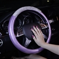 Fashion Girls Diamond Leather Car Steering Wheel Covers Crystal Bing Rhinestons Cases - Purple