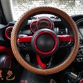 Fashion Woven Genuine Leather Car Steering Wheel Covers 15 inch 38CM - Brown