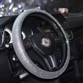 Luxury Full Diamod Rhinestone Leather Auto General Anti-slip Crystal Car Steering Wheel Cover Women - All Silver