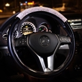 Women Diamond Crystal Car Steering Wheel Cover Rhinestone Premium Leather Car-Styling - Black White