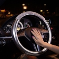 Women Diamond Crystal Car Steering Wheel Cover Rhinestone Premium Leather Car-Styling - Silver White
