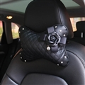 1PCS Plaid Bling Leather Car Neck Pillow Camellia Universal Auto Headrest for Female- Black