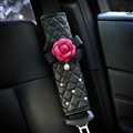 2pcs Car Safety Seat Belt Covers Women Creative Diamond Camellia Leather Shoulder Pads - Black