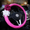 Beautiful Color Camellia Diamond Car Steering Wheel Covers Genuine Leather 15 Inch 38CM - Pink