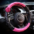 Bling Pretty Camellia PU Leather Vehicle Steering Wheel Covers 15 inch 38CM - Black Rose