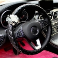 Bling Pretty Flower PU Leather Car Steering Wheel Covers 15 inch 38CM - Black
