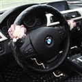 Bling Pretty Flower PU Leather Vehicle Steering Wheel Covers 15 inch 38CM - Black