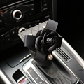 Camellia 1pcs Crystal Car Gear Covers Leather Bling Shift Cover Auto Interior Decro - Black