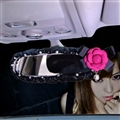 Camellia Bling Fashion Women Leather Car Rearview Mirror Elastic Covers Motorcar Interior Decorate - Black