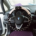 Car Interior Cute Bow Polka Dot Auto Steering Wheel Wrap Cover Velvet 15 Inch 38CM - Black Beige
