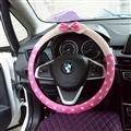 Car Interior Cute Bow Polka Dot Auto Steering Wheel Wrap Cover Velvet 15 Inch 38CM - Pink Beige
