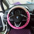 Car Interior Cute Case Polka Dot Auto Steering Wheel Wrap Cover Velvet 15 Inch 38CM - Pink Beige