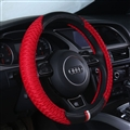 Classic Men Ice Silk Leather Sports Anti-slip Breathe Holes Steering Wheel Covers Accessories - Red