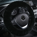 Classical Winter Wool Car Steering-wheel Cover Soft Fur Steering Wheel Cover Sheepskin - Black