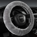 Classical Winter Wool Car Steering-wheel Cover Soft Fur Steering Wheel Cover Sheepskin - Gray