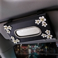 Daisy Bling Leather Automotive Tissue Paper Box Holder Case Seat Back Hanging Tissue Bag - Black