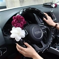 Diamond Beautiful Flower PU Leather Vehicle Steering Wheel Covers 15 inch 38CM - Black