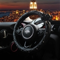 Diamond Nice Camellia PU Leather Vehicle Steering Wheel Covers 15 inch 38CM - Black