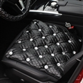 Diamond Studded Crystal Leather Auto Front Seat Cushion Woman Universal Pads 1pcs - Black