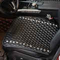 Diamond Studded Crystal Leather Car Front Seat Cushion Woman Universal Auto Pads 1pcs - Black