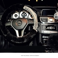 Exquisite Rhinestone Car Steering Wheel Wrap Plush 15 Inch 38CM - Black