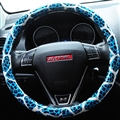 Fashion Leopard Glitter PU Leather Auto Steering Wheel Covers 15 Inch 38CM - Blue