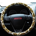 Fashion Leopard Glitter PU Leather Auto Steering Wheel Covers 15 Inch 38CM - Gold
