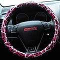 Fashion Leopard Glitter PU Leather Auto Steering Wheel Covers 15 Inch 38CM - Pink