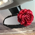 Fashion Women Leather Car Rearview Mirror Elastic Covers Motorcar Interior Decorate - Black