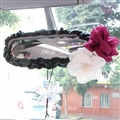 Flower Women Leather Car Rearview Mirror Elastic Covers Motorcar Interior Decorate - Black
