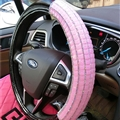 Funky Diamond Car Steering Wheel Covers PU Leather 15 Inch 38CM - Black Pink