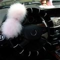 Genuine Wool White Rabbit Ball Fur Pearls Auto Steering Wheel Covers 15 inch 38CM - Black Pink