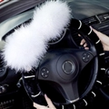 Genuine Wool White Rabbit Ball Fur Pearls Auto Steering Wheel Covers 15 inch 38CM - Black White