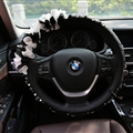 Gorgeous Camellia Diamond Car Steering Wheel Covers Genuine Leather 15 Inch 38CM - Black