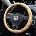 Hot Sales Diamond Genuine Leather Grip Auto Steering Wheel Covers 15 Inch 38CM - Gold