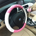 Hot Sales Diamond Genuine Leather Grip Auto Steering Wheel Covers 15 Inch 38CM - Pink White