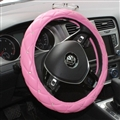 Hot Sales Diamond Genuine Leather Grip Auto Steering Wheel Covers 15 Inch 38CM - Pink