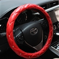 Hot Sales Diamond Genuine Leather Grip Auto Steering Wheel Covers 15 Inch 38CM - Red