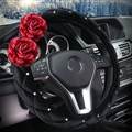 Hot sales Winter Diamond Velvet Flower Car Steering Wheel Covers 15 inch 38CM - Black
