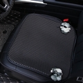 Ice Silk Flower Leather Car Front Seat Cushion Woman Universal Pads 1pcs - Black