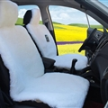 Luxury Australia Wool Car Seat Cushion Winter 100% Genuine Fur Sheepskin 1pc Front Cover - White