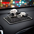 Luxury Crystal Camellia Car Anti Slip Mat Non-slip Sticky Silica Gel Pad Car Perfume Block Styling - Black White