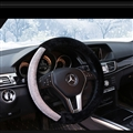 New Rhinestone Winter Plush Crystal Steering Wheel Case For Women Car Accessories - Black