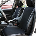 Personalized Leather Car Seat Covers Punk Rivet Universal Auto Cushion 1PC Front Cover - Black