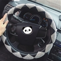 Top Luxury Women Car Steering Wheel Covers Crystal PU Leather 15 inch 38CM - Black