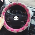 Top Luxury Women Car Steering Wheel Covers Crystal PU Leather 15 inch 38CM - Rose